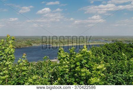 Dnieper River In Spring Afternoon, Beautiful Spring Landscape, Ukraine