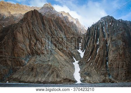 Geological Layers / Rocky Textures Of A Weathered Mountain Face In Spiti Valley, Himachal Pradesh, I