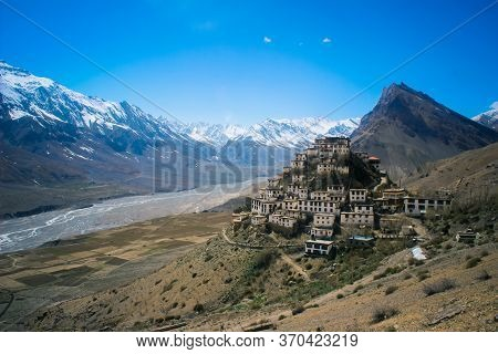 Key Monastery In A Picturesque Setting In Spiti Valley, Himachal Pradesh, India. Also Known As Kee,