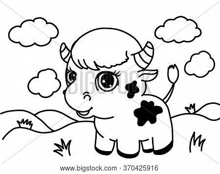 Cute Cow, Awesome Little Bull Smiling. 2021 Chinese Symbol. Colouring Page. Cartoon Sweet Style. Pre