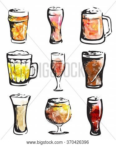 Hand Drawn Ink Style Watercolor Illustration: Beer Glasses Collection Set. For Oktoberfest, Saint Pa
