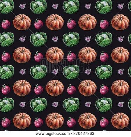 Autumn Fall Seasonal Harvest Vegetables Cabbage, Tomato, Pumpkin, Garlic Seamless Pattern Illustrati
