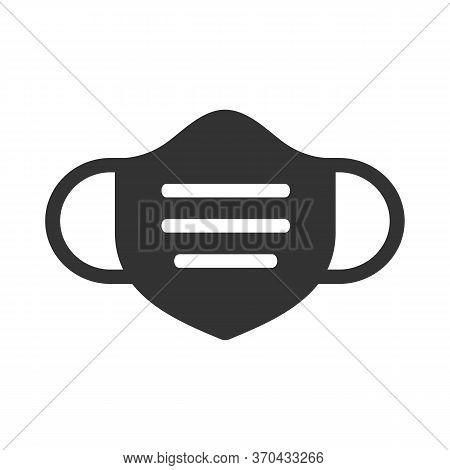 Medical Mask Icon Design, Surgical Masker Symbol, Black Silhouette Illustration - Vector