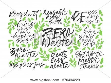 Zero Waste Handwritten Vector Letterings Set With Leaves. Reduce, Reuse, Recycle, Say No To Plastic,