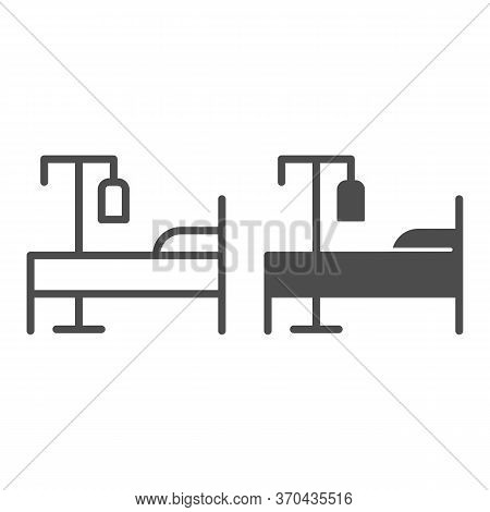 Bed And Dropper Line And Solid Icon, Emergency Therapy Concept, Hospital Bed With Drop Counter Sign