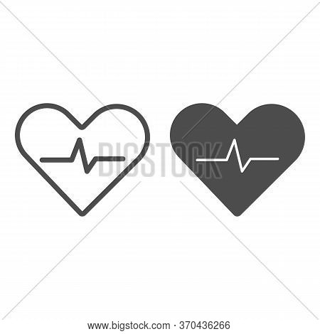 Heartbeat Line And Solid Icon, Cardiology Concept, Cardiogram Sign On White Background, Heart With H