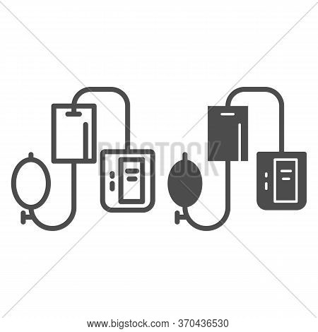 Electronic Tonometer Line And Solid Icon, Heath Care Concept, Arterial Blood Pressure Checking Devic