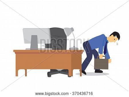 Businessman Feeling Exhausted And Going Home From His Working Place In The Office. Concept Of Exhaus