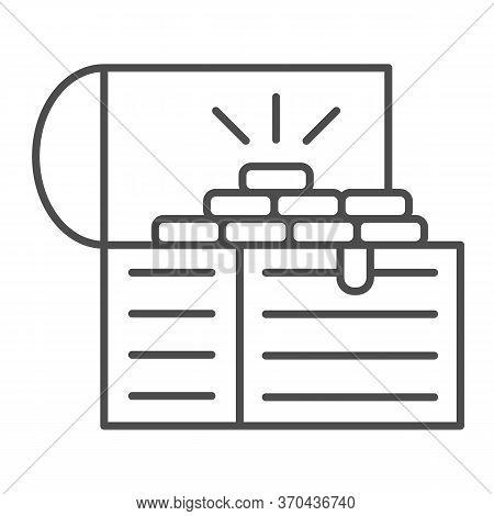 Treasure Chest Thin Line Icon, Wealth Concept, Opened Pirates Treasure Box Sign On White Background,