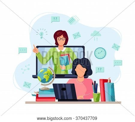 Online Education, Home Schooling Concept. Student Is Doing Homework On Computer. Female Teacher On L