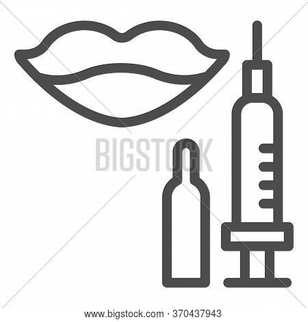 Lips With Syringe Line Icon, Beauty Salon Procedure Concept, Lips And Botox Injection Sign On White
