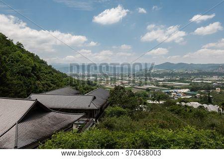 Puli, Taiwan - May 3th, 2020: scenery of Chengte Foshan temple roof, Puli township, Nantou, Taiwan