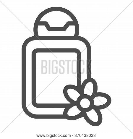 Cosmetic Bottle With Flower Line Icon, Spa Salon Concept, Oil Bottle Sign On White Background, Spa C