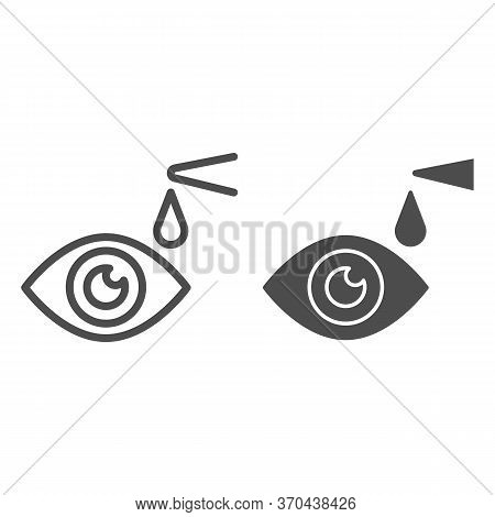 Eye Drops Line And Solid Icon, Heath Care Concept, Eye Health Sign On White Background, Applying Eye