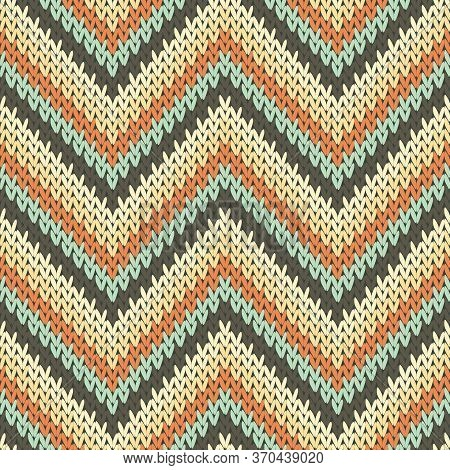 Handicraft Zigzag Chevron Stripes Knit Texture Geometric Vector Seamless. Fair Isle Sweater Hosiery