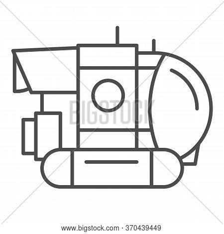 Bathyscaphe Thin Line Icon, Ocean Concept, Military Submarine Sign On White Background, Underwater B