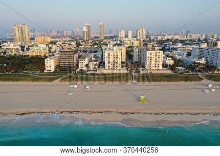 Aerial View Of South Beach And Lummus Park In Miami Beach, Florida Duing Coronavirus Beach, Hotel, P