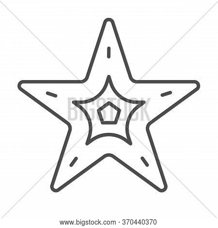 Starfish Thin Line Icon, Nautical Concept, Seastar Sign On White Background, Starfish Icon In Outlin