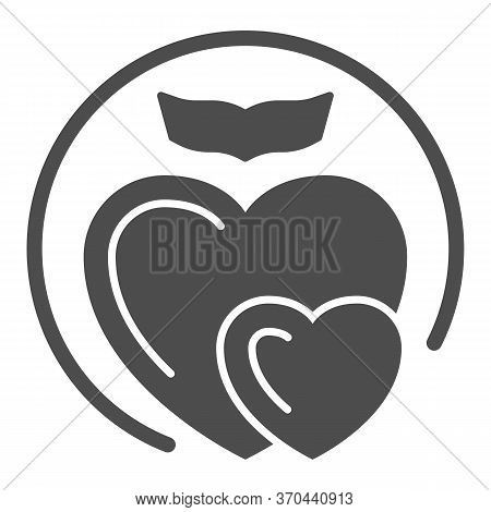 Two Love Hearts Solid Icon, Romance Concept, Two Hearts Soar With Love Sign On White Background, Sex