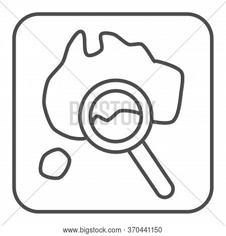 Map And Magnifier Thin Line Icon, Travel Concept, World Map With Magnifying Glass Sign On White Back