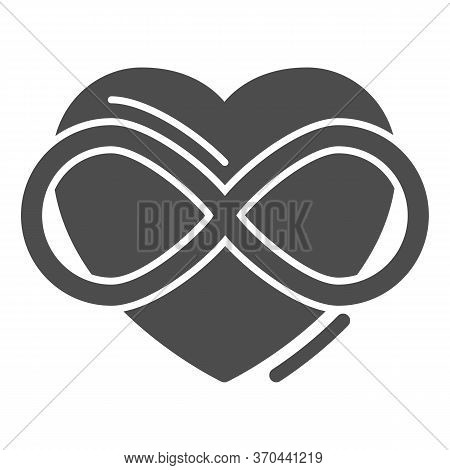 Infinity Sign In Heart Shape Solid Icon, Free Love Concept, Love Eternity Sign On White Background,