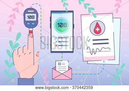 Diabetes Healthcare Concept, Sugar Control By Smartphone. Online Diagnosis For Diabetic Patients. Di