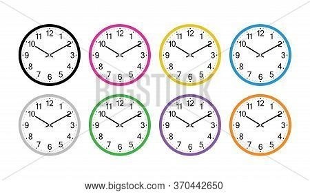 Wall Clock Isolated On The White Background Vector Design. Illustration Eps10. Classic Round Wall Cl