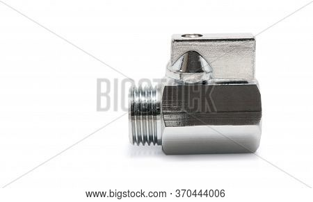 Side View Of Plumbing Valves Isolated On White Background With Copy Space. Clipping Path Including.