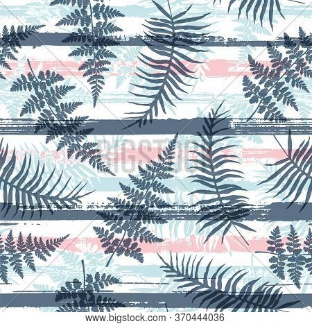 Organic New Zealand Fern Frond And Bracken Grass Over Painted Stripes Seamless Pattern Design. Polyn