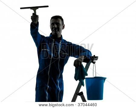 one caucasian man window cleaner  worker silhouette in studio on white background