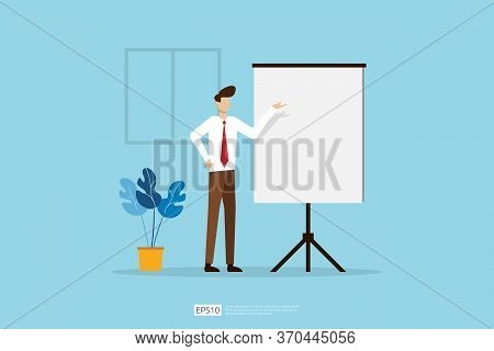Businessman Presenting Marketing Idea Plan Concept. Business Character Giving Presentation Report, L