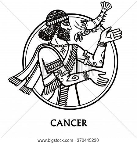 Zodiac Sign Cancer. Vector Art. Black And White Zodiac Drawing Isolated On White.