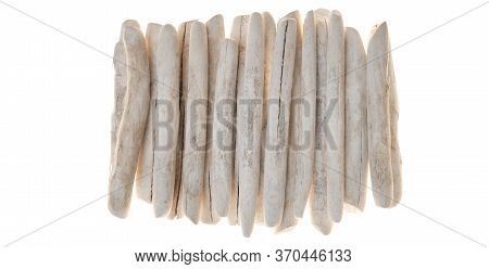 Driftwood Wall Decor.row Of White Sea Snags.white Pieces Of Wood Isolated On White Background. .mari