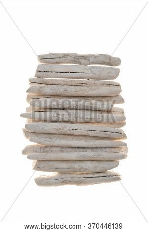 Driftwood Wall Decor.row Of White Sea Snags.white Pieces Of Wood Isolated On White Background. Marin