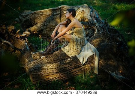 Portrait Beautiful Woman In Light Dress. Portrait Of Serious Woman On Trunk Wood. Portrait Of A Beau