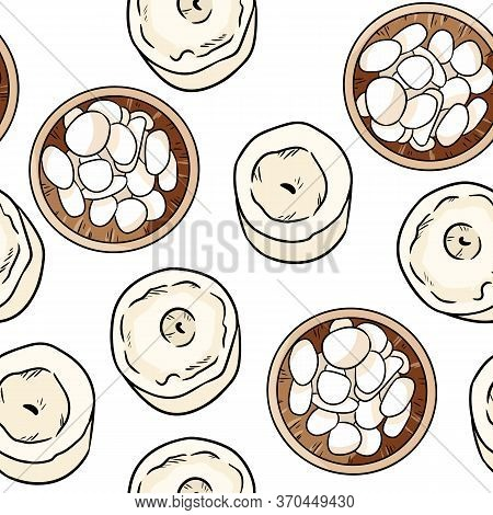 Wooden Bowl With White Sea Pebble Stones And Candles Comic Style Seamless Pattern. Boho Cartoon Wall