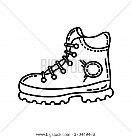 Hiking Boot Flat Line Icon. Camping Or Hiking Element Vector Stock Isolated Image On White Backgroun
