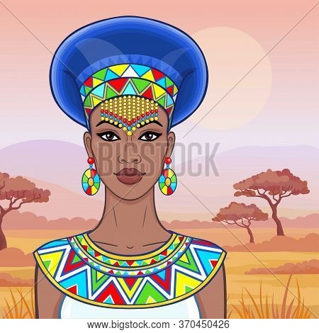 Animation Portrait Of The Beautiful African Woman In Ancient Clothes And Jewelry. Color Drawing. Bac
