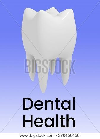 3d Illustration Of Dental Health Title Under Two Chain Rings, Isolated Over Green Gradient.