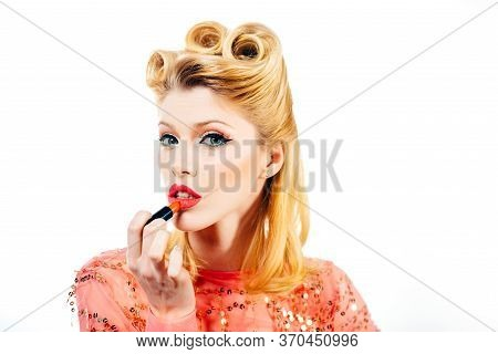 Woman Lips. Macro With Beautiful Mouth. Lip Care And Protection. Sensual Lips. Portrait Young Woman