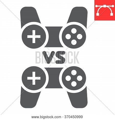 Multiplayer Game Glyph Icon, Video Games And Gamepad, Game Consoles Sign Vector Graphics, Editable S