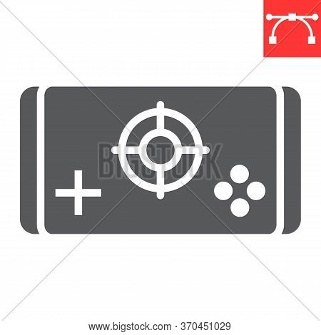 Mobile Game Glyph Icon, Video Games And Smartphone, Mobile Gaming Sign Vector Graphics, Editable Str