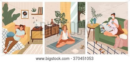 Stay At Home Concept Vector Illustration. Man Listen Music On Vinyl Recorder. Woman Doing Yoga And M