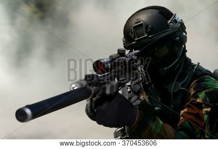 Army Sniper During The Military Special Operation In Close Up