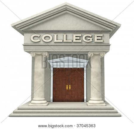 Iconic caricature of a college building isolated on a white background