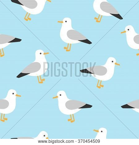 Marine Pattern With Cute Seagull. Nautical Pattern With Seagull Character.