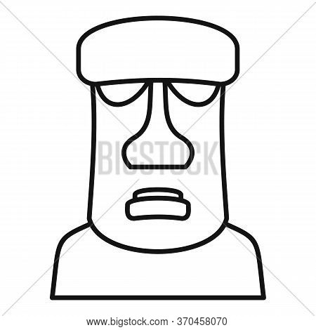 Geology Moai Head Icon. Outline Geology Moai Head Vector Icon For Web Design Isolated On White Backg