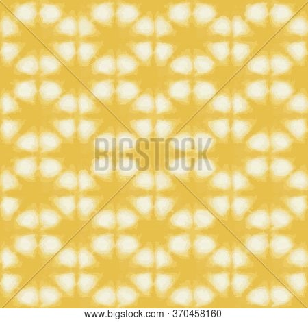 Vector Tie Dye Texture Seamless Pattern. Hand Drawn Shibori Print. Yellow Textured Japanese Backgrou