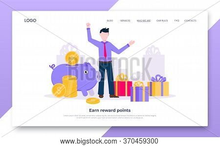 Earn Points Business Landing Page Concept Flat Style Design Vector Illustration. Loyalty Reward Poin