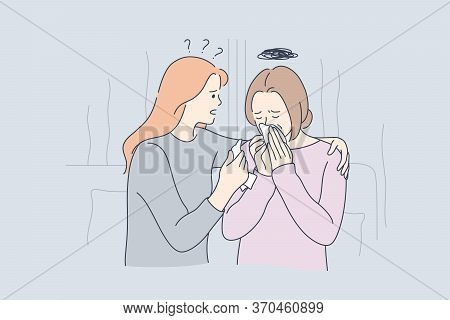 Support, Stress, Depression, Frustration Concept. Young Daughter Hugging Soothing Sad Depressed Frus